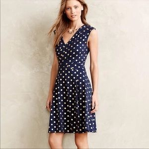 Anthropologie Maeve Gold and Navy Polka Dot Dress